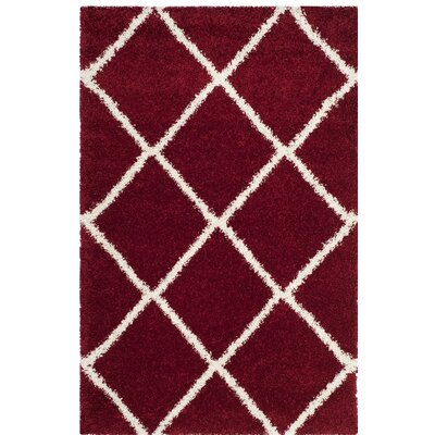 Humberto Shag Red/White Area Rug Rug Size: 5'1