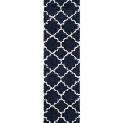 Melvin Power loomed Shag Blue/Beige Area Rug Rug Size: Runner 23 x 8
