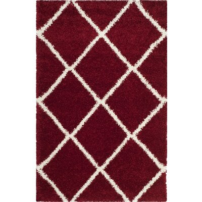Humberto Shag Red/White Area Rug Rug Size: 8' x 10'