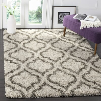 Melvin Shag Beige/Gray Area Rug Rug Size: Rectangle 9 X 12