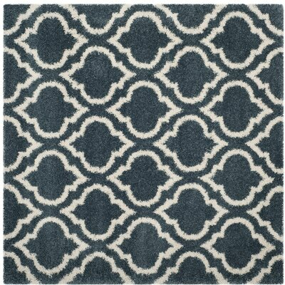 Hampstead Shag Blue/Beige Area Rug Rug Size: Square 7
