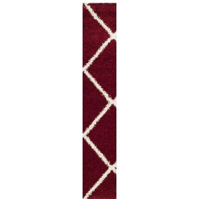 Humberto Shag Red/White Area Rug Rug Size: Runner 23 x 8