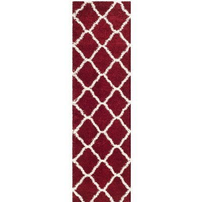 Melvin Shag Red/White Area Rug Rug Size: Runner 23 x 8