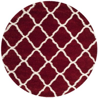 Hampstead Shag Red/White Area Rug Rug Size: Round 7