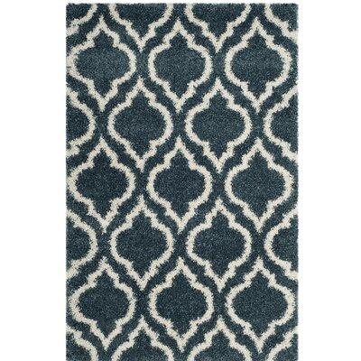 Hampstead Shag Blue/Beige Area Rug Rug Size: 4 x 6
