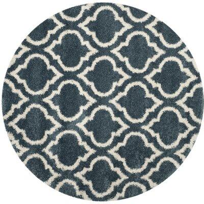 Hampstead Shag Blue/Beige Area Rug Rug Size: Round 7