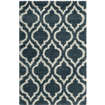 Melvin Shag Blue/Beige Area Rug Rug Size: Rectangle 3 x 5