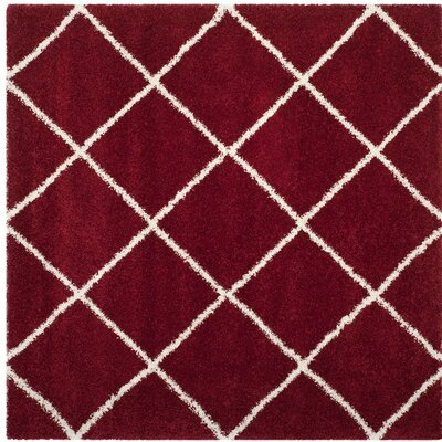 Humberto Shag Red/White Area Rug Rug Size: Square 7