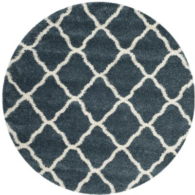 Melvin Shag Blue/Beige Trellis Area Rug Rug Size: Rectangle 2-3 X 8