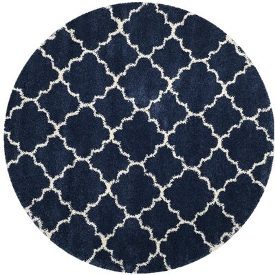 Melvin Power loomed Shag Blue/Beige Area Rug Rug Size: Round 7