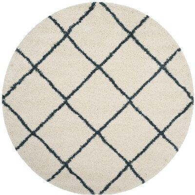 Hampstead Beige/Blue Area Rug Rug Size: Round 7