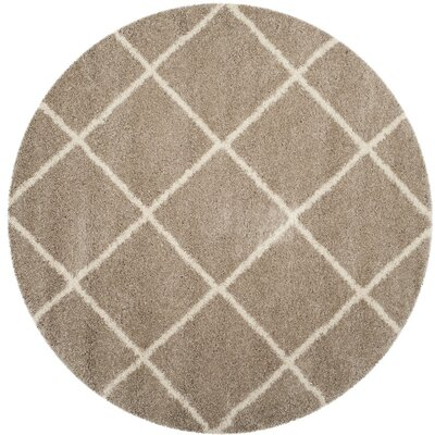 Hampstead Shag Brown/Beige Area Rug Rug Size: Round 7