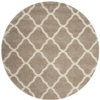 Humberto Shag Beige/Brown Area Rug Rug Size: Round 7'