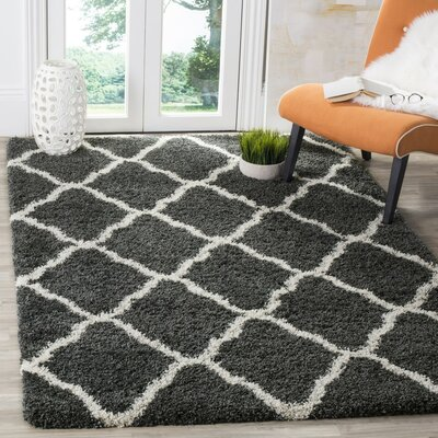 Melvin Shag Beige/Black Area Rug Rug Size: Rectangle 51 x 76