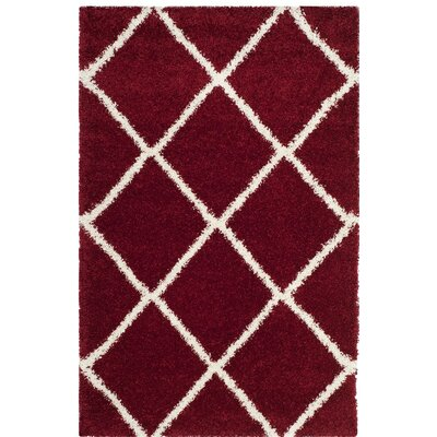Humberto Shag Red/White Area Rug Rug Size: 4' x 6'