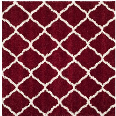 Melvin Shag Red/White Area Rug Rug Size: Square 7