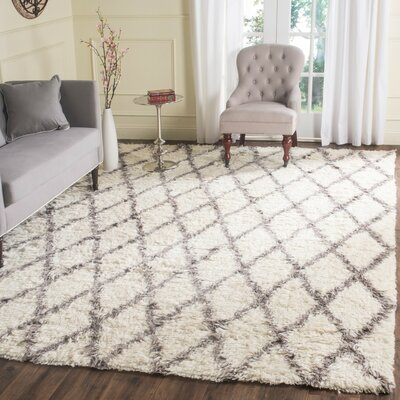 Lohan Hand-Tufted Ivory/Gray Area Rug Rug Size: Rectangle 9 x 12
