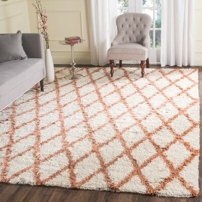 Lohan Hand-Tufted Ivory/Terracotta Area Rug Rug Size: Rectangle 9 x 12