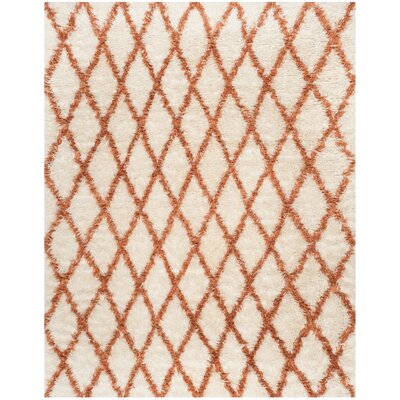 Lohan Hand-Tufted Ivory/Terracotta Area Rug Rug Size: 6 x 9