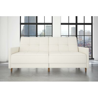 Midtown Faux Leather Convertible Sofa Upholstery: Off-White
