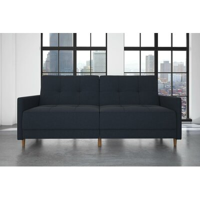 Midtown Linen Convertible Sofa Upholstery: Navy