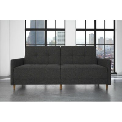 Midtown Linen Convertible Sofa Upholstery: Grey