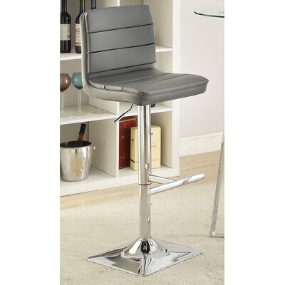 Groner Adjustable Height Bar Stool Upholstery: Gray