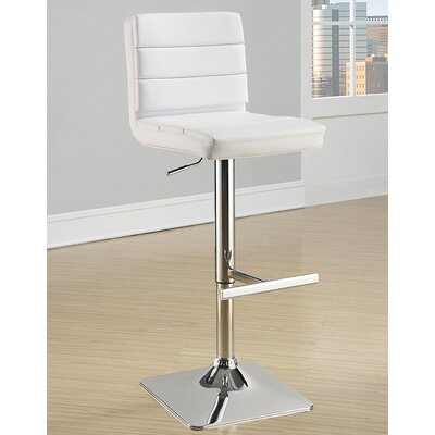 Groner Adjustable Height Bar Stool (Set of 2) Upholstery: White