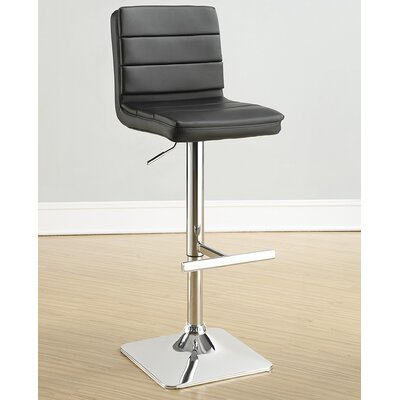 Groner Adjustable Height Bar Stool Upholstery: Black
