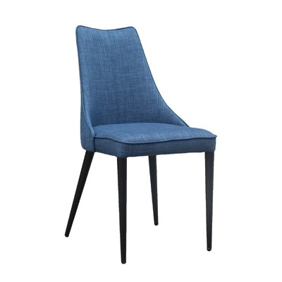 Saramarie Upholstered Dining Chair Color: Blue