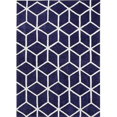 Buskirk Hand-Tufted Navy/Ivory Area Rug