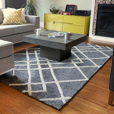 Elks Diamond Dogs Charcoal Area Rug Rug Size: 9 x 12