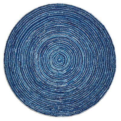 Banner Hand-Tufted Blue Area Rug Rug Size: Round 8