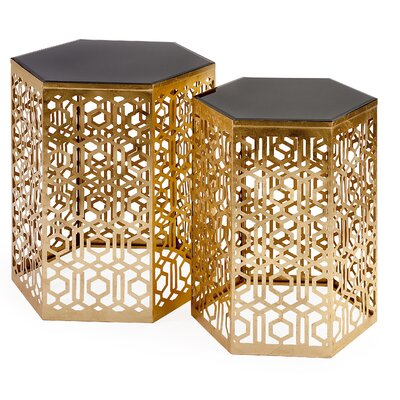 Braggs Mirror 2 Piece End Tables Finish: Gold