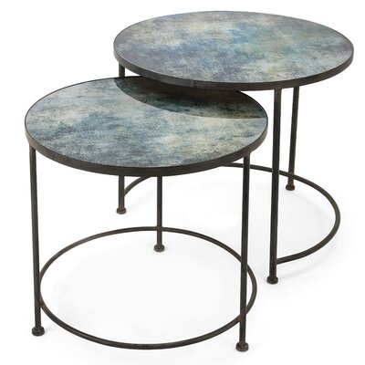 Buskirk Metal and Printed Glass 2 Piece Nesting Tables