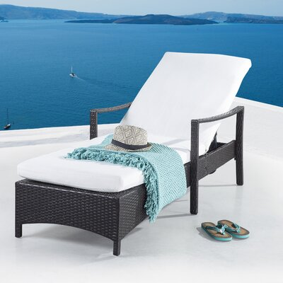 Colligan Adjustable Wicker Chaise Lounge with Cushion