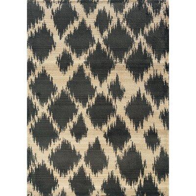 Feltner Ivory/Black Area Rug Rug Size: 53 x 76