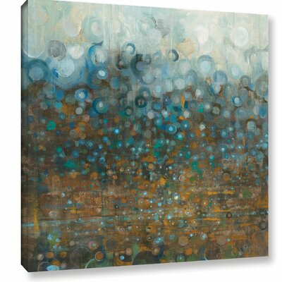 'Blue and Bronze' by Danhui Nai Dots Painting Print on Wrapped Canvas Size: 10