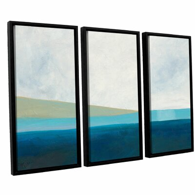 'Layered Earth 3' by Jan Weiss 3 Piece Framed Painting Print Set
