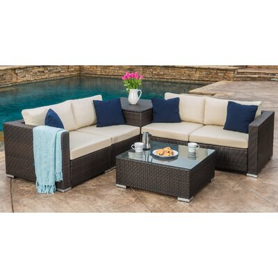 Dickerson 6 Piece Outdoor Sectional Seating Group Set
