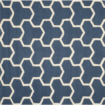 Harbin Navy Blue/Ivory Area Rug Rug Size: Square 6