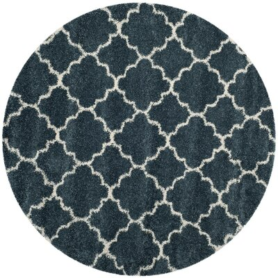 Melvin Modern Shag Blue/Beige Area Rug Rug Size: Round 7