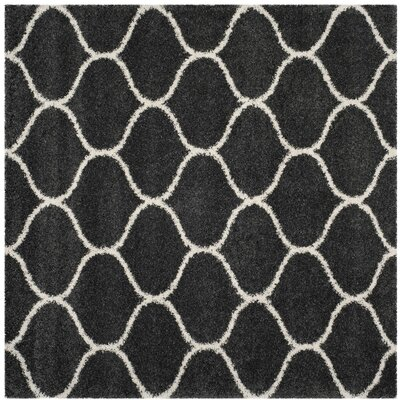 Hampstead Shag Dark Gray/Ivory Area Rug Rug Size: Square 7