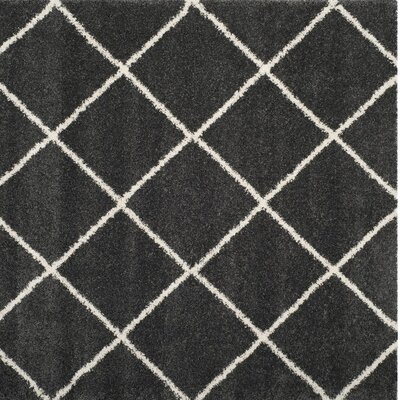 Humberto Shag Dark Grey/Ivory Area Rug Rug Size: Square 7