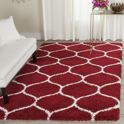 Humberto Shag Red/White Area Rug Rug Size: 7 X 7 Square