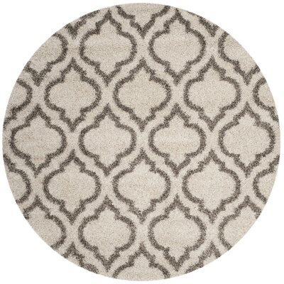 Humberto Shag Beige/Gray Area Rug Rug Size: Round 7