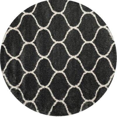 Hampstead Shag Beige/Black Area Rug Rug Size: Round 7