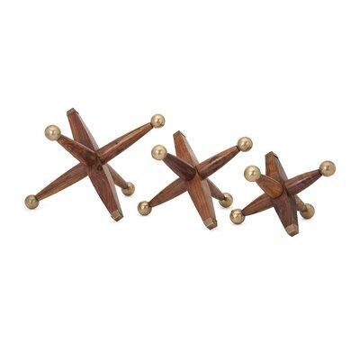 3 Piece Brown Wood and Metal Jack Set