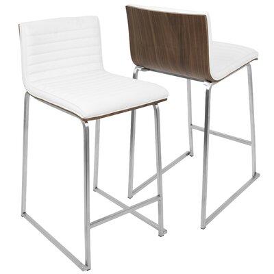 Yvette 26 Bar Stool Upholstery: White