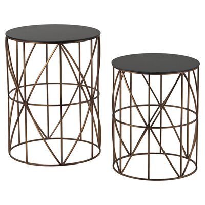 Agatha 2 Piece Drum Side Table Set